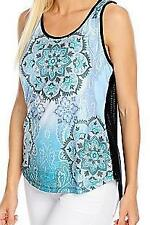 NEW - One World Mixed Media Printed Front Mesh Back Scoop Neck Tank