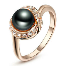 Rose Gold Plate Made with Swarovski Crystal Black Pearl Wedding Ring R26
