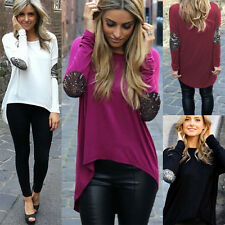 Fashion Women Ladies Casual Long Sleeve Tops Tee Shirt Blouse Irregular Tops New