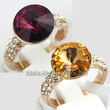 Solitaire Simulated Amethyst Topaz Fashion Ring 18KGP Crystal Size 5.5-9