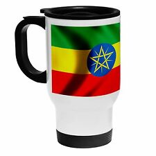 White Stainless Steel Mug - Flag of Ethiopia - Many Design Options