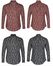 MENS NAVY & WINE PAISLEY SHIRT BY POP ENGLAND NEW BUTTON DOWN COLLAR MOD RETRO