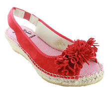 OTTO KERN Wedges Size 36 / 38 coral red leather Ankle-strap sandal Women's New