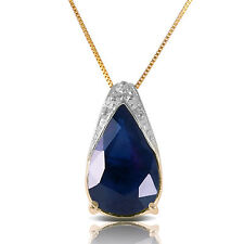 Genuine Sapphire Pear Cut Gemstone Solitaire Pendant Necklace in 14K. Solid Gold