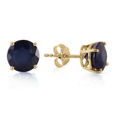 Genuine Sapphire Gemstone Round Stud Post Earrings 14K. Yellow, White, Rose Gold