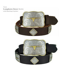 "Longhorn Texas - Western Genuine Leather Concho Cowboy Belt, 1-1/2"" Wide"