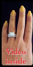 Finest 3.8CT 2Pcs Engagement Diamond Ring Platinum 22KT S.Silver Made in Italy