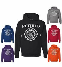 Retired Firefighter Sweatshirt Fireman Gift Fire Dept Badge Volunteer Hoodie