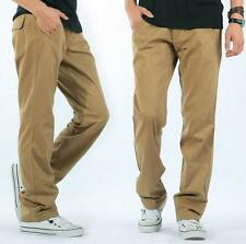 New Mens cotton loose straight leg  casual cargo overall long  trousers pants