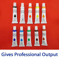 10 ACRYLIC PAINTS TUBE SET SMOOTH ART DRAWING PAINTING COLOURS FOR SCHOOL ARTIST