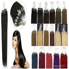 """Micro Loop Rings Beads I Tip Indian Remy Human Hair Extensions 18""""20""""22"""" 100S"""