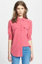 $214 Equipment Slim Signature Silk Blouse Shirt Carmine Pink L/Large NEW Last 1