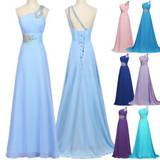 CLASSIC 1 SHOULDER Long Bridesmaid Dress Formal Party Prom Ball Gown Evening NEW