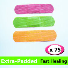 75 Pack Neon Waterproof Padded Plasters - Latex Free Flexible First Aid Band Aid