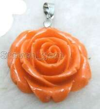 SALE Big 35mm Offwhite Rose shape synthesize coral pendant-pen56