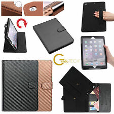Designer Luxury Carbonfiber Leather Wallet Smart Flip Case Cover For Apple iPad