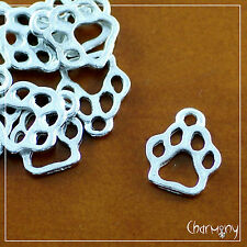 Dog Paw charms ~PACK of 10~ Tibetan silver pet pawprint collar tag pendant bead