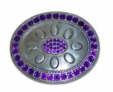 BU11 OVAL SHAPE BELT BUCKLE WITH PURPLE RHINESTONES & OPTIONAL BELT STRAP