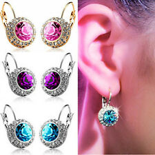 New Fashion Women Silver Gold Plated Crystal Rhinestone Dangle Ear Stud Earring