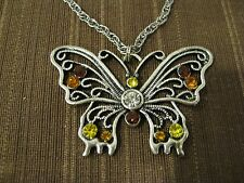 MULTI COLOR CRYSTAL INLAID BUTTERFLY PENDANT NECKLACE, SILVER TONED METAL