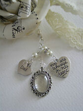 Vintage Inspired DAD Heart & Photo Bouquet Charm - Various Colours Available