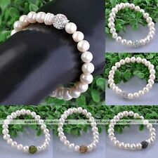 Natural 8mm Freshwater Cultured Pearl Crystal Bead Bracelet Bangle Women Jewelry