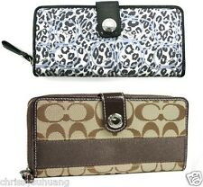 $228 NWT Coach Signature Stripe/Ocelot Zip Around Wallet 46491, 45798