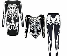 Ladies Women Halloween Skeleton Skull Bone Print Fish Net Black Tunic Dress