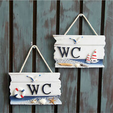 WC Toilet Wooden Door Sign Wall Boat Ship Beach Hanging Nautical Decor Ornament