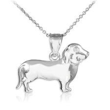 Sterling Silver Wiener Dog Dachshund Puppy Charm Pendant Necklace