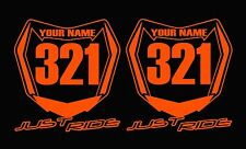 MOTOCROSS NUMBER PLATE DECAL STICKER CUSTOM NAME # MX KTM ORANGE SX YZF CRF KXF