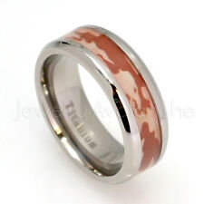 Red Woodland Camouflage Inlay Comfort Fit Titanium Ring, Military Inspired Ring
