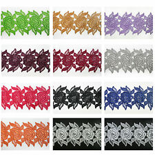 """3"""" White Black Ivory Red 12 Colors Rose Floral Venice Lace Trim Guipure By Yard"""