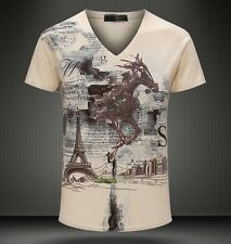 New Men's vintage Horse Print Casual Cotton V-Neck Short sleeve Tee T-Shirt 4Sz