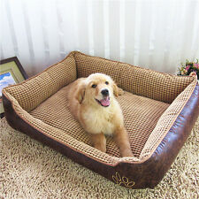 Waterproof Leather Pet Dog Bed Detachable Wash Cushion Dual Using Dog Cat House