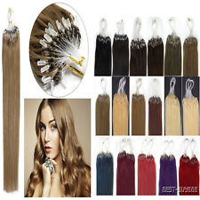 Fashion Remy Human Hair Extensions Loop Silicone Micro Rings Beads Tip 16-22Inch