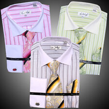 Mens Karl Knox Formal Casual Dress Shirt Tie & Hanky Cuff Links SX4295 Luxury
