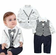Baby Boy Wedding Christening Formal White Tuxedo Suit+Jacket Outfits Set 3-24M