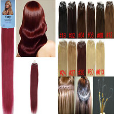 "Easy Loop Micro Rings Bead Tip Remy Brazilian Human Hair Extensions 100S 16""-26"""