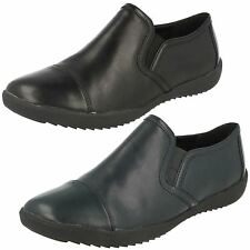 Clarks Ladies Black/Navy Leather Slip On Shoes UK Sizes 3 - 8 Belgrave Venus