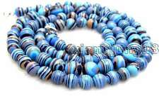 "SALE Super Long 33"" Round  blue  zebra stripe 6-8mm agate graduate Necklace-5801"