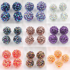 Stylish 5/10Pcs Acrylic Crystal  Pave Clay Round Ball Spacer Beads DIY Finding