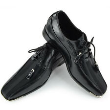NEW Mens Gorgeous Black Satin Stripe Silvertip Dress Shoes Expressions 4925