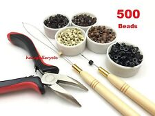 500 SILICONE MICRO BEADS Feather Hair Extension I TIP TOOL KIT PLIERS HOOK LOOP
