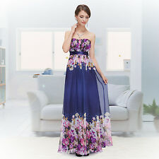 Strapless Floral Printed Flower Long Party Evening Prom Dress 08380 US Seller