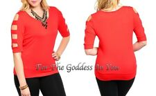 T231 RED CUT AWAY SLEEVE OPEN SHOULDER KNOT TOP JUNIOR PLUS SIZE 1X 2X 3X