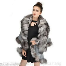 2015 Real Wool Cashmere Knitwear Poncho Cape Coat Fox Fur Wrap Fashion