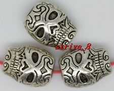 10/40/200pcs Tibetan Silver two-sided Skull Jewelry Charms Spacer Beads 10x8mm