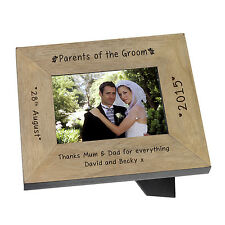 Parents of the Groom Wooden Photo Frame 7x5 Personalised Engraved Wedding Gift