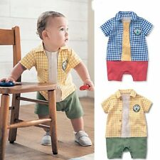 Baby Boy Colorful Checked T-Shirt Top Outfit+Pants Bodysuit Clothes Romper 0-18M